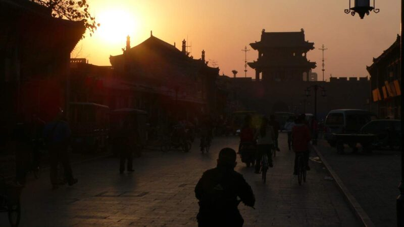 Abendstimmung: Sonnenuntergang in Pingyao.