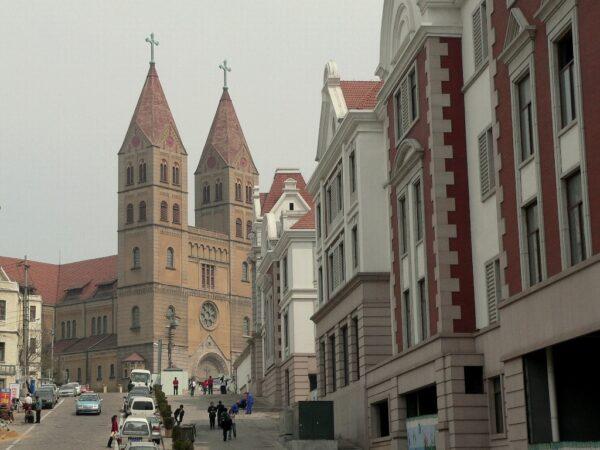 Die alte deutsche Kirche im Zentrum von Qingdao.