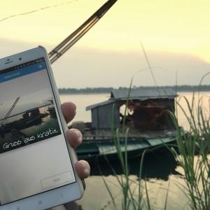 Mit POKAmax generierst du mit wenigen Klicks deine persönliche Postkarte. Im Blid: das Mekongufer in Kratie, Kambodscha.
