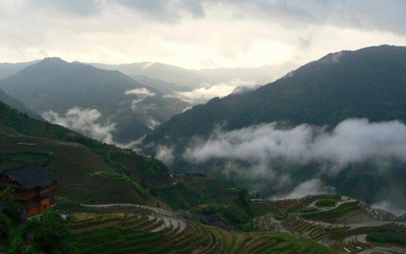Blick auf die Reisterrassen von Longji.